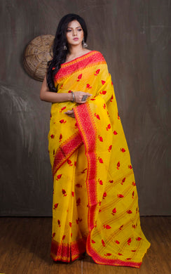 Bengal Handloom Cotton Saree with Embroidery Work in Yellow and Red