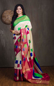 Ikkat Pochampally Silk Saree in Off White, Green and Magenta - Bengal Looms India