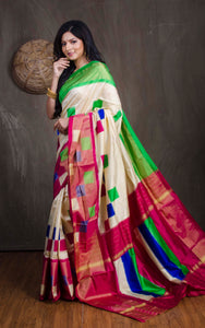 Ikkat Pochampally Silk Saree in Off White, Green and Magenta from Bengal Looms India