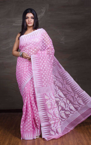 Beautiful Jamdani Saree in Pink and White