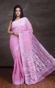 Jamdani Saree in Baby Pink and White from Bengal Looms India