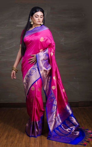 Katan Silk Banarasi Saree in Pink and Blue