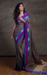 Double Warp Khadi Soft Cotton Saree in Dark Grey from Bengal Looms India