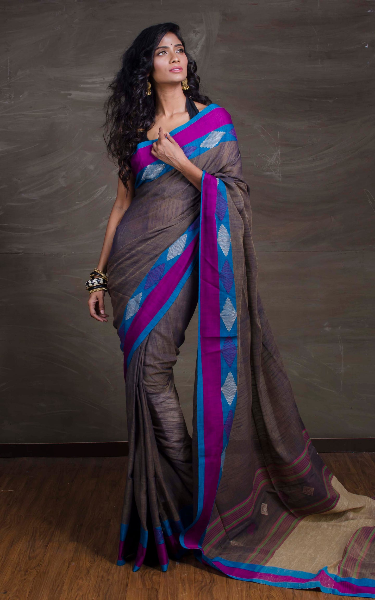 Pure Khadi Soft Cotton Saree in Dark Grey