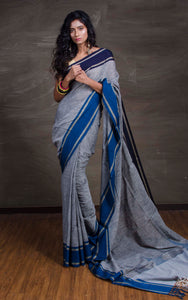 Khadi Cotton Saree with Ganga Jamuna Border in Grey and Blue from Bengal Looms India