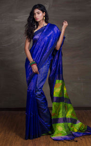 Matka Tussar Saree with Jamdani Pallu in Royal Blue and Green