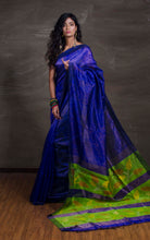 An Exclusive Matka Tussar Saree with Jamdani Pallu in Royal Blue and Green from Bengal Looms India