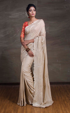 Designer Embroidery Work Sana Silk Saree in Beige from Bengal Looms India