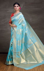 Semi Silk Banarasi Saree in Sky Blue and Gold - Bengal Looms India
