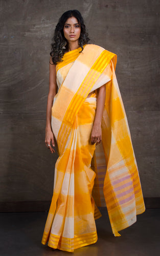 Bengal Handloom Cotton Saree in Yellow and Off White