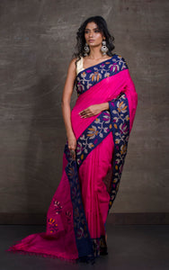 Premium Quality Kadiyal Work Matka Tussar Saree in Bright Pink and Multicolored Thread Work