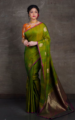 Tussar Banarasi Designer Poth Saree in Moss Green and Magenta