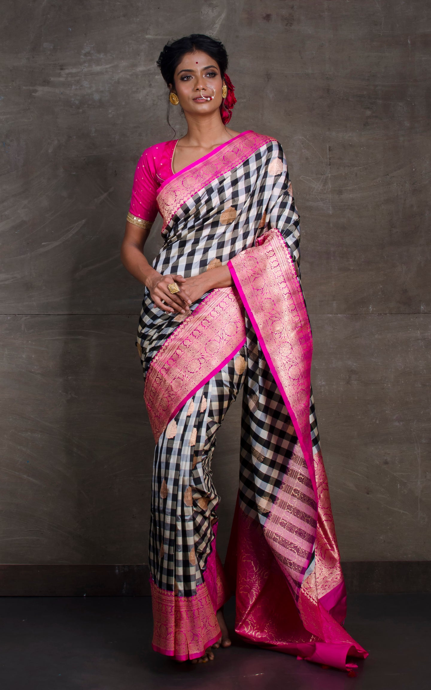 Designer Checks Katan Banarasi Silk Saree in Black ,Off White and Dark Pink