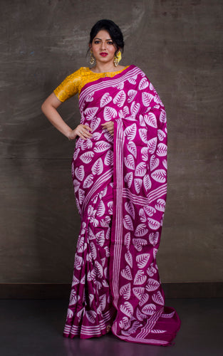 Pure Silk Hand Embroidery Kantha Stitch Saree in Magenta and White Thread Work