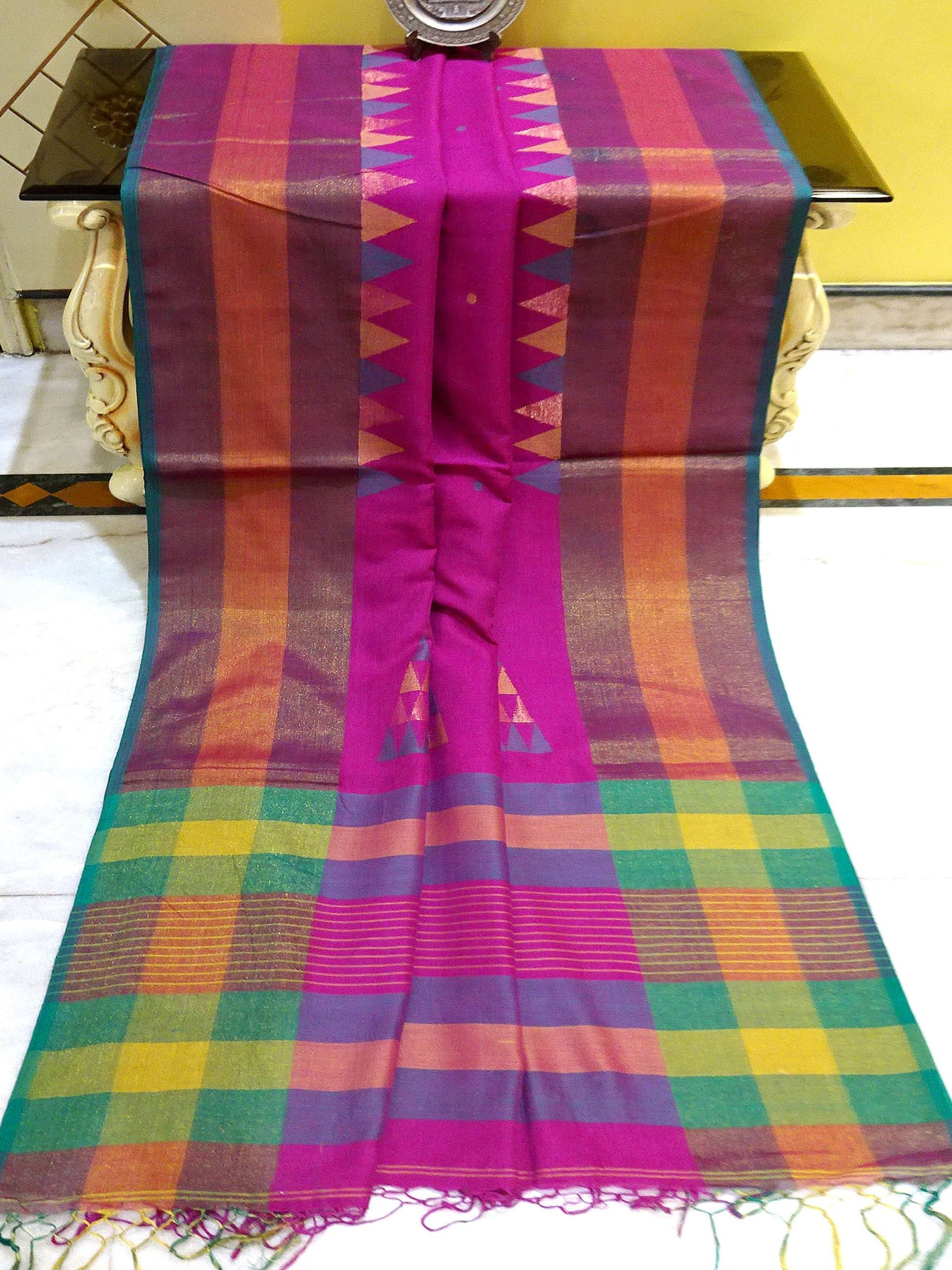 Khadi Soft Cotton Saree in Purple and Green from Bengal Looms India