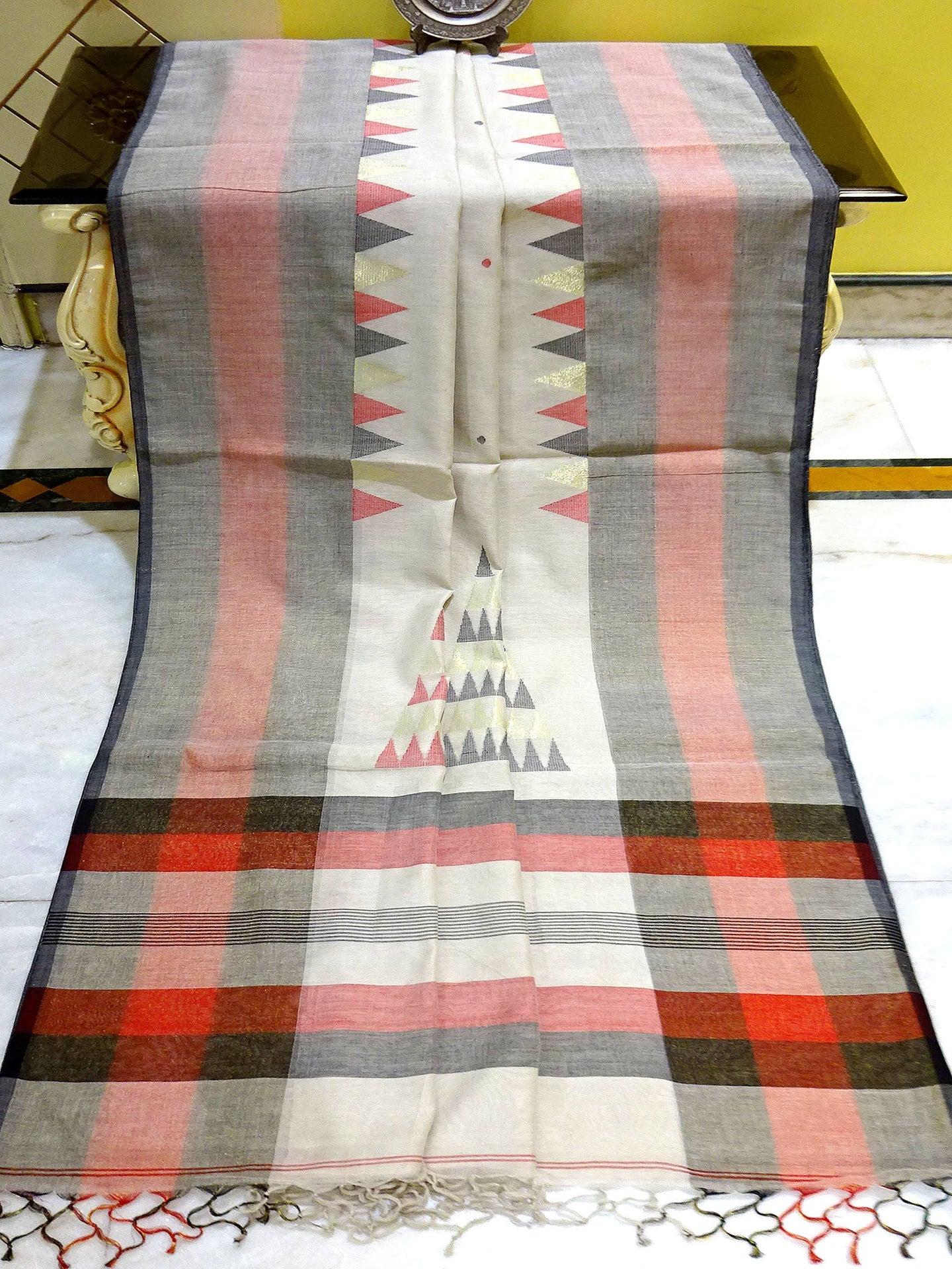 Khadi Soft Cotton Saree in Clayish White and Red from Bengal Looms India