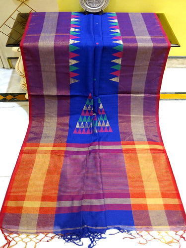 Khadi Soft Cotton Saree in Royal Blue and Red