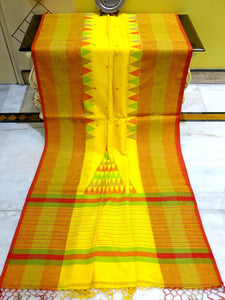 Khadi Soft Cotton Saree in Yellow and Red - Bengal Looms India