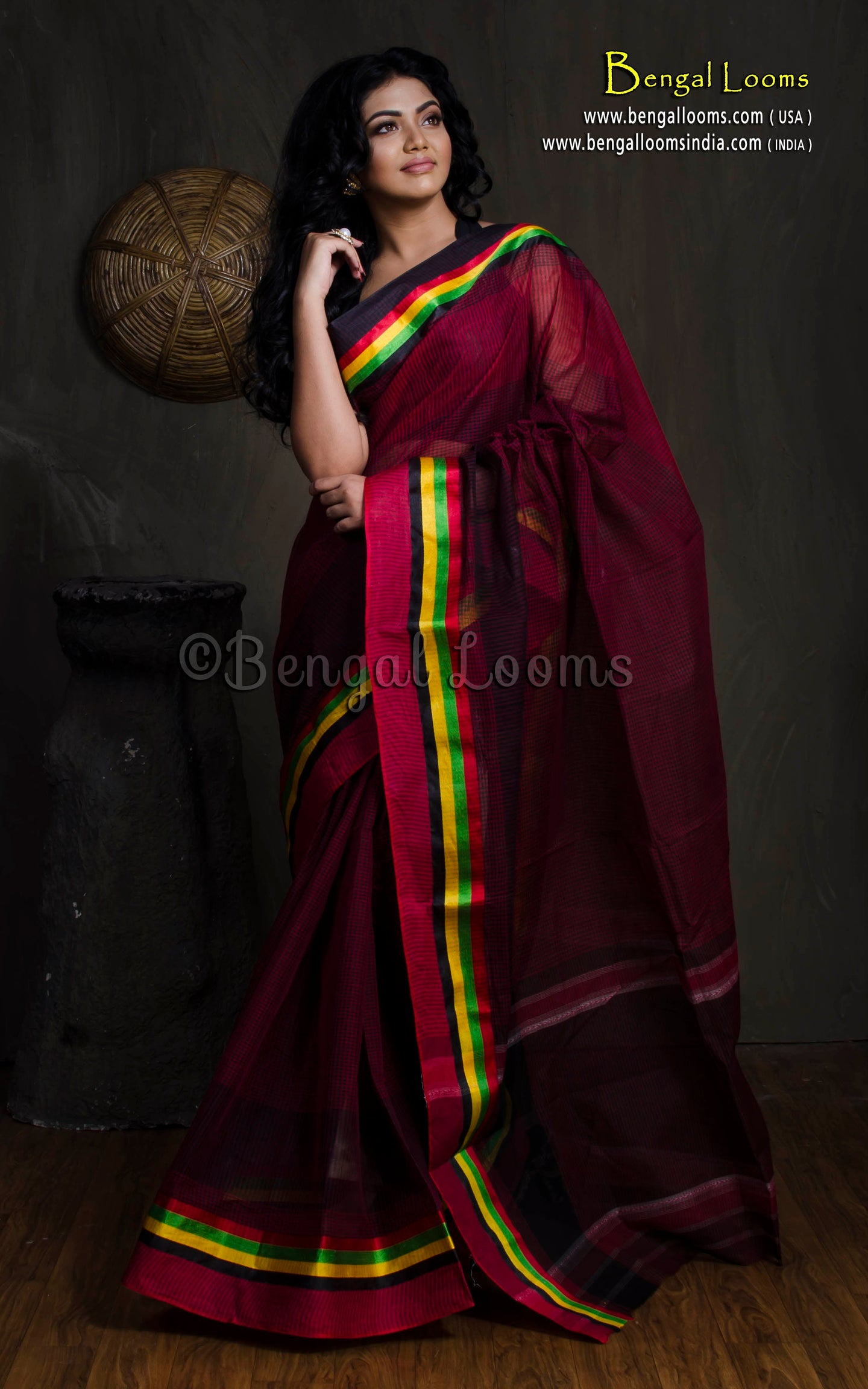 Bengal Handloom Cotton Saree with Satin Border in Maroon from Bengal Looms India