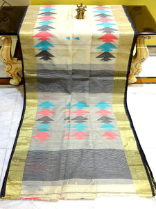 Blended Cotton Silk Saree in Off White and Gold - Bengal Looms India