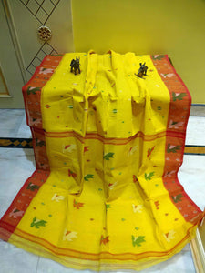 Cotton Dhakai Jamdani Saree in Yellow and Red