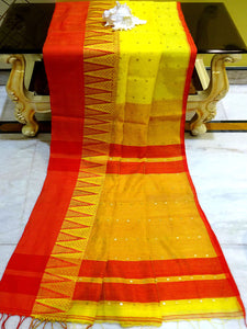 Temple Border Khadi Soft Cotton Silk Sitara Saree in Yellow and Red