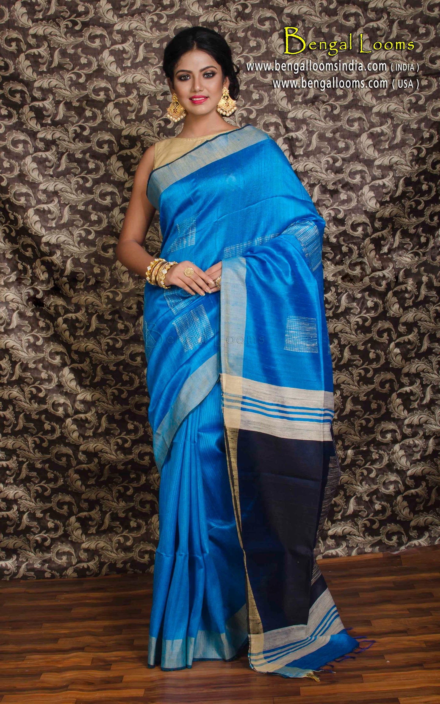 Dupion Tussar Silk Saree in Azure Blue and Navy Blue - Bengal Looms India