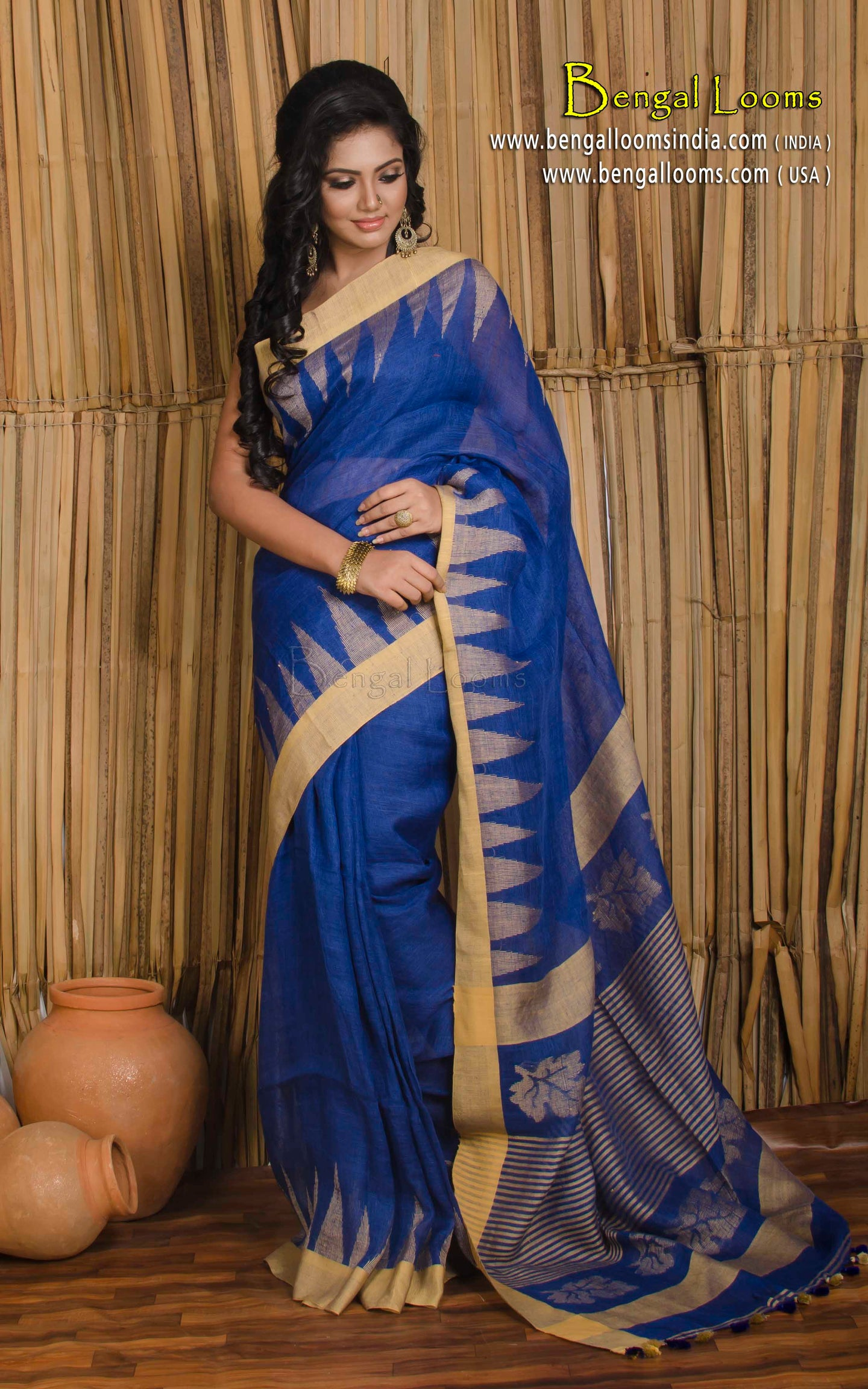 Pure Linen Jamdani Saree in Blue with Temple Border from Bengal Looms India