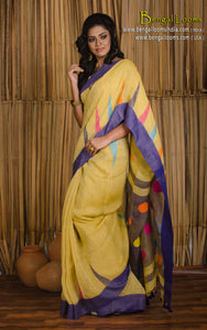 Linen Jamdani Saree in Light Yellow and Purple from Bengal Looms India