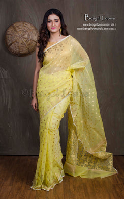 Muslin Jamdani Saree in Lemon Yellow and Gold from Bengal Looms India