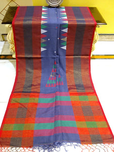 Khadi Soft Cotton Saree in Steel Grey and Red - Bengal Looms India
