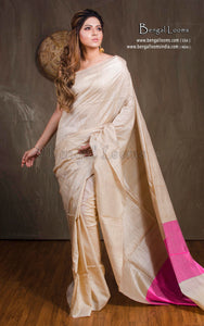 Natural Tussar Silk Saree in Beige and Pink