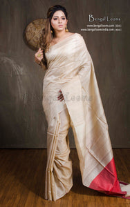 Natural Tussar Silk Saree in Beige and Red