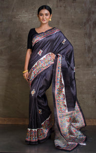 Printed Art Gicha Silk Saree in Black and Off White