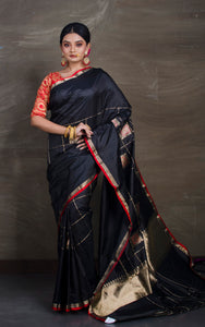 Pure Katan Banarasi Silk Saree in Black and Red from Bengal Looms India