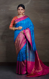 Pure Dupion Tussar Banarasi Saree in Blue and Rani from Bengal Looms India