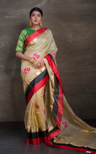 Tussar Banarasi Saree with Satin Border in Beige, Red and Black from Bengal Looms India