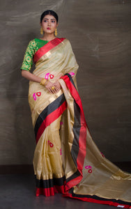 Alfi Work Tussar Banarasi Saree with Satin Border in Beige and Multicolored Thread Work - Bengal Looms India