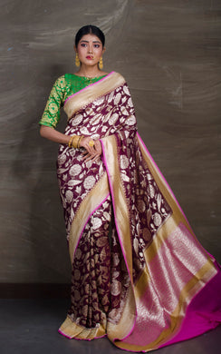 Pure Georgette Banarasi Saree in Wine Red and Magenta from Bengal Looms India