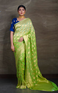Pure Georgette Banarasi Saree in Bright Green and Gold from Bengal Looms India