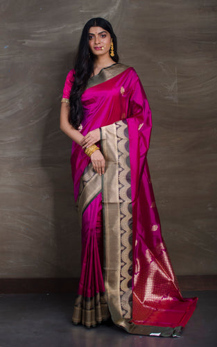 Pure Katan Banarasi Silk Saree in Magenta and Basil Green