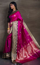 Pure Katan Banarasi Silk Saree in Magenta and Basil Green from Bengal Looms India