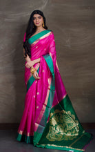 Tussar Banarasi Saree in Dark Pink and Green from Bengal Looms India