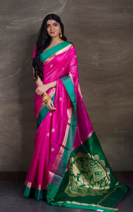 Kora Cotton Banarasi Saree in Dark Pink and Green
