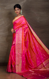 Premium Quality Banarasi Silk Saree in Peach, Pink and Gold from Bengal Looms India