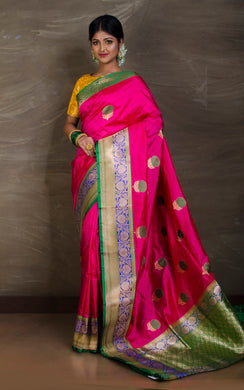 Katan Silk Banarasi Saree in Hot Pink and Green from Bengal Looms India
