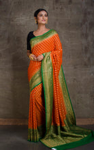 Pure Khaddi Georgette Banarasi Saree in Burnt Orange and Grass Green