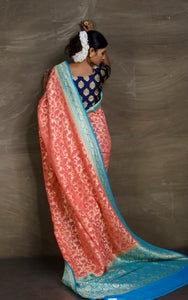 Pure Khaddi Georgette Banarasi Saree in Watermelon and Sky Blue from Bengal Looms India