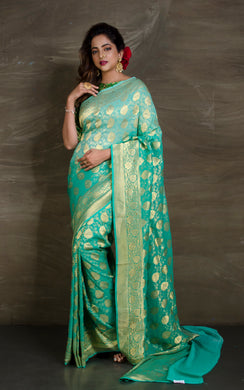 Pure Georgette Banarasi Saree in Sea green and Gold from Bengal Looms India