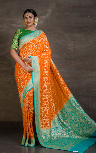 Pure Khaddi Georgette Banarasi Saree in Apricot Orange and Sea Green